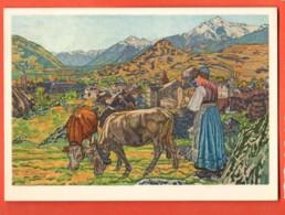 MYA-01 Tableau De Raphy Dallèves (Ecole De Savièse) : Sion L'Automne, Sitten Im Herbst.Vaches Et Paysanne.Circ. 1934 - VS Valais