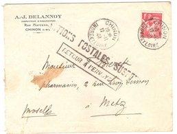 AL57-056 - Lettre De Chinon Pour Metz - WW2 Annexion + Cachet 'Relations Postales Suspendues' - Marcofilia (sobres)