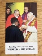 Wereld - Missiedag 1959, Missieactie Den Haag, Paus Johannes XXIII, Offer-Vrijdag - Devotieprenten