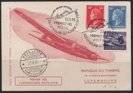 Luxembourg 1955 First Flight Cover - Luxembourg-Reykjavik-New York, 22/05/1955  (Ref: 1915) - Luxembourg