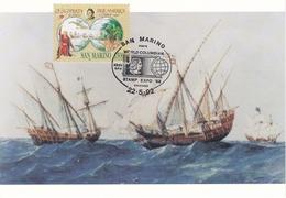 Carte Maximum Bateau Ship San Marin 1992 Christophe Colomb - FDC
