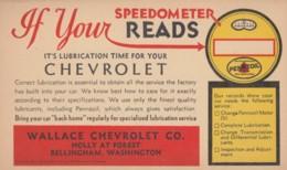 Service Reminder Wallace Chevrolet Bellingham Washington, Pennzoil Lubrication, C1950s Vintage Postcard - Passenger Cars