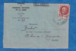 Carte Lettre Ancienne - TRES URGENT - Avril 1944 - Tribunal De Premiére Instance De La Seine - Juge - Storia Postale