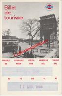Billet De Tourisme R.A.T.P. Avril 1968 Havas Voyages Bruxelles Pour Voyager Pendant 7 Jours à Paris - Europe