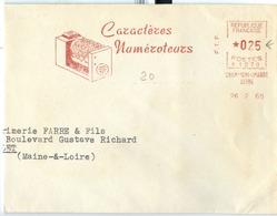 Red Meter Frankeer ATM 1960 Munber Counting Computer Compteur Numéroteurs N 1278 26.02.1960 Champigny - Marcophilie (Lettres)