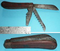 """Rare Couteau Multifonctions 3 Outils Scie Lame Tournevis, Marque """"Véritable..."""" ??, Jardinage Bois - Outils"""