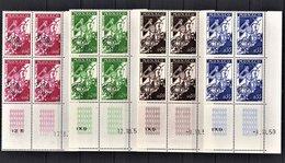 MONACO 1960 - SERIE 4 BLOCS DE 4 PREO / N° 19 A 22 - NEUFS** / COINS DE FEUILLES/DATES - VorausGebrauchte