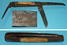 Rare Couteau Multifonctions 3 Outils Scie Lame Alène, A La Hache, Jardinage - Outils