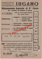 Abonnement Général De 3ème Classe Multiple (chemin De Fer, Funiculaire, Bateaux) Lugano - Suisse Du 8 Au 14 Aout 1949 - Wochen- U. Monatsausweise