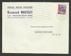 """Enveloppe """" Cycles - Motos - Scooters R. MOUSSET """" à LA ROCHE SUR YON 1960 - Motos"""