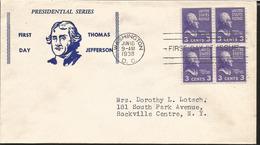 J) 1938 UNITED STATES, PRESIDENTIAL SERIES, THOMAS JEFFERSON, FDC - United States