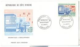1972 Development Informatique Computer Memory Core IBM 360 System Imperforate. Scott No 329 Mch 412 FDC - Côte D'Ivoire (1960-...)