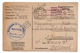 1918  WWI, GERMANY, POW CAMP HAVELBERG, POW LETTER TO GENEVA, CENSORED - Alemania