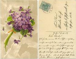 AK Blumen 1913, Veilchen, Künstler AK Signiert MB, Von Gotha Nach Öpitz Pößneck - Blumen