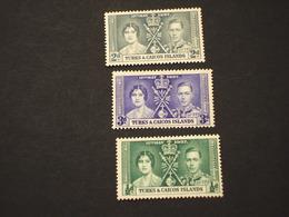 TURKS CAICOS - 1937 INCORONAZIONE 3 VALORI. - NUOVI(++) - Turks E Caicos