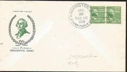 J) 1938 UNITED STATES, GEORGE WASHINGTON, PRESIDENTIAL SERIES, PAIR, FDC - United States