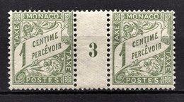 MONACO 1905 / 1919 PAIRE / N° 1 - NEUFS** / AVEC MILLESIME 3 - Postage Due