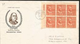 J) 1938 UNITED STATES, PRESIDENTIAL SERIES, BENJAMIN FRANKLIN, BLOCK OF 6, FDC - United States