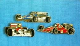 3 PIN'S //   ** LIGIER JS37 RENAULT / Mc LAREN MP4-3 HONDA / FERRARI F1-90 ** . (2 Locomobile 1 Winner) - F1