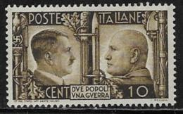 Italy Scott # 413 Unused No Gum Hitler And Mussolini, 1941 - Mint/hinged