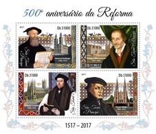 S. TOME & PRINCIPE 2017 - H. Bullinger, Ph. Melanchthon, Th. Cranme, C. Hedio - YT CV=20 €, 5989-92 - Theologians