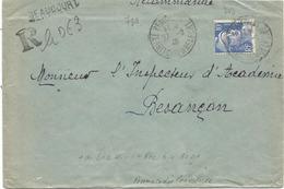 GANDON 10FR BLEU SEUL LETTRE REC PROVISOIRE BEAUCOURT 27.2.1946 TERRITOIRE DE BELFORT AU TARIF - 1945-54 Marianne Of Gandon