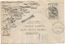 N°618 SEUL PNEUMATIQUE PARIS 92 14.8.1944  AU TARIF 2EME RARE - Marcofilia (sobres)