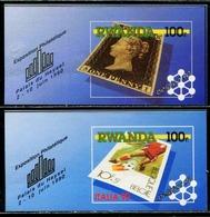 DA1378 Rwanda 1990 Postal Ticket In The Ticket Black Penny Football And Other 2M MNH - Rwanda