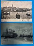 1903. 2AK. Zollkanal Und Segelschiff Hafen Mondscheinkarte - Harburg