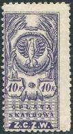 Eastern Poland ZCZW 1920 Polish Occupation Ukraine Belorussia Wilno 10 Kop. Revenue Fiscal Tax Russia Civil War Z.C.Z.W. - Revenue Stamps