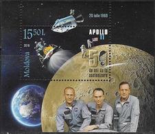MOLDOVA , 2019, MNH,  SPACE, MOON LANDING, S/SHEET - Space