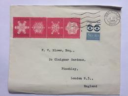 DENMARK 1966 Cover With Christmas Vignettes Kobenhavn To England - Dinamarca