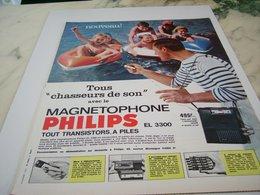 ANCIENNE  PUBLICITE CHASSEURS DE SON MAGNETOPHONE PHILIPS 1964 - Autres
