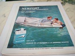 ANCIENNE PUBLICITE UNE EXQUISE FRAICHEUR CIGARETTE  MENTHOLE NEWPORT 1964 - Tabac (objets Liés)