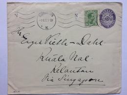 DENMARK 1920 Uprated Cover Kobenhavn To Kelantan Via Singapore With Tumpat Strike To Rear - Covers & Documents