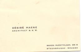 Visitekaartje - Carte Visite - Architect Désiré Maene - Steenbrugge Brugge - Cartes De Visite