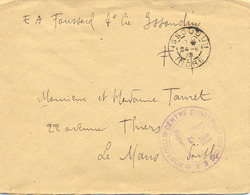 GUERRE 14-18  CENTRE D'INSTRUCTION DES E.A. * ISSOUDUN * INDRE TàD 24-9-18 - Postmark Collection (Covers)