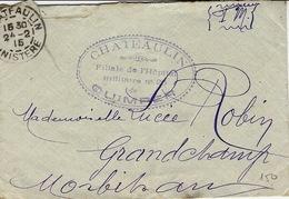 1915- WWI Enveloppe En F Mde CHATEAULIN - Filiale De L'Hôpital / Militaire N_20 De Quimper - Marcofilia (sobres)