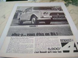 ANCIENNE PUBLICITE ALLEZ A CASSIS VOITURE R4 DE RENAULT 1964 - Voitures