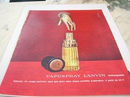ANCIENNE PUBLICITE VAPOSPRAY DE LANVIN  1964 - Perfume & Beauty