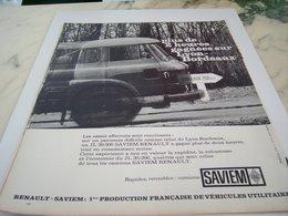 ANCIENNE PUBLICITE LYON BORDEAUX CAMION SAVIEM  RENAULT 1964 - Trucks