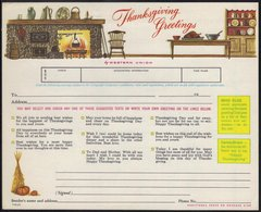 DINDE - THANKSGIVING - FEU - AMEUBLEMENT - POTIRON ETC / 1965 USA TELEGRAMME DE LUXE ILLUSTRE (ref WU3) - Other