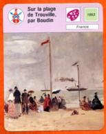 Sur La Plage De Trouville , Par Boudin Fiche Illustrée Cousteau  N° 2055 - Géographie