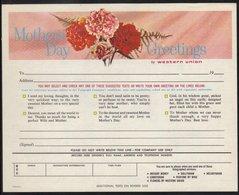 FETE DES MERES - FLEURS - OEILLETS ETC / 1966 USA TELEGRAMME DE LUXE ILLUSTRE (ref WU9) - Mother's Day