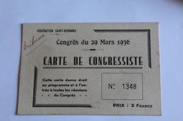 Carte De Congressiste 1936 Federation Saint Bernard - Non Classés