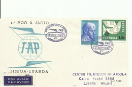 PORTUGAL, SOBRE CONMEMORATIVO PRIMER VUELO A REACCION LISBOA/LUANDA - 1910-... República