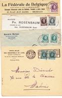 Lot De 4  Enveloppes  Timbres    Houyoux - 1922-1927 Houyoux
