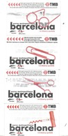 BILLET TICKET METRO TRAMWAY AUTOBUS BARCELONE ESPAGNE BARCELONA SPAIN  LOT DE 8 - Métro