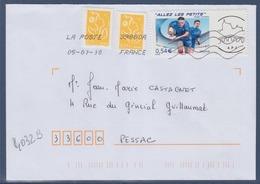 = Timbre Rugby 4032B Sur Lettre 05.01.2010 Adhésif Vignette Personnalisée APJ Association Philatélique Jonzac - France