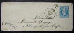 Veyre 1869 (Puy De Dôme) Gc 4173 Boîte Rurale B Lettre Pour Chassignolle Par Auzon - 1849-1876: Période Classique